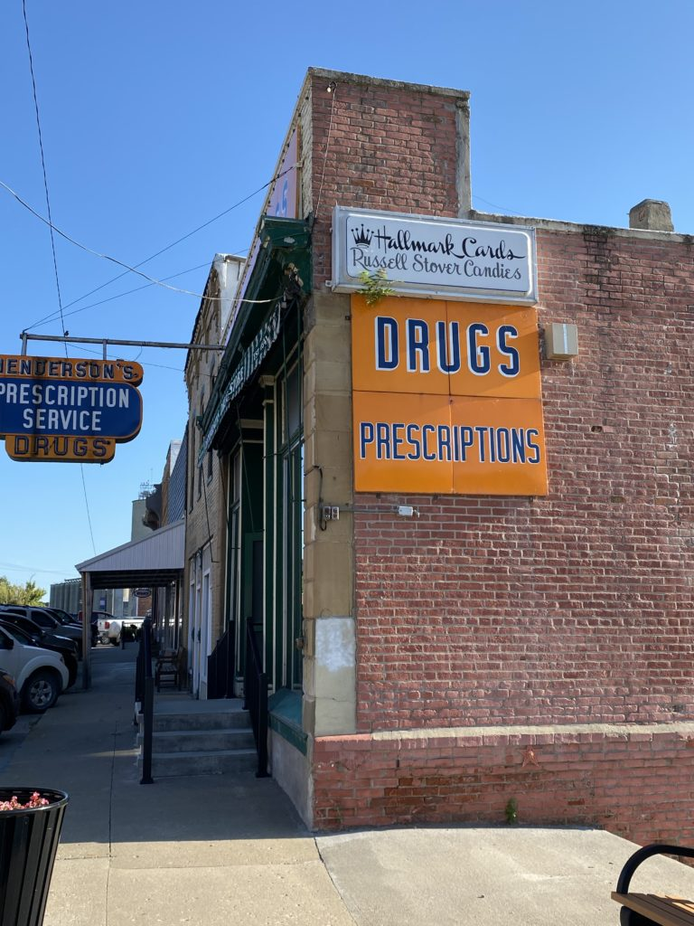 Image of Henderson Pharmacy and Fountain Shop on a sunny day.
